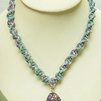 Pretty Purple Pastel  Hemp Necklace with Fimo Glass Mushroom    handmade macrame jewelry    hippie  girls