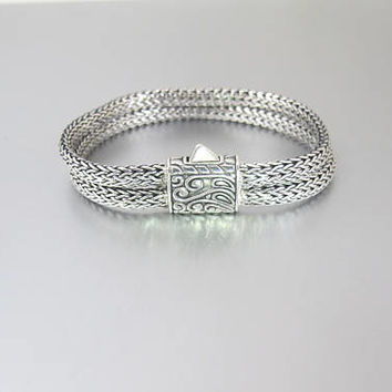 Sterling Silver Foxtail Chain Bracelet. Double Classic Chain Bangle. Byzantine Style Clasp.