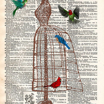 Dress form birdcage, with hummingbirds flying, vintage dictionary page art print