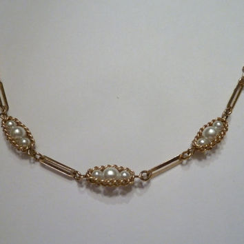 Vintage Gold Pearl Necklace Filigree Delicate Prom Wedding Party Costume Jewelry