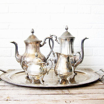 Vintage Oneida Silver Plate Tea Set - 5 Piece Tea Service - Victorian Style Teapots, Sugar Bowl, Creamer, and Tray - Silverplate Tea Set