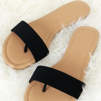 Suede Single Strap Sandal Black