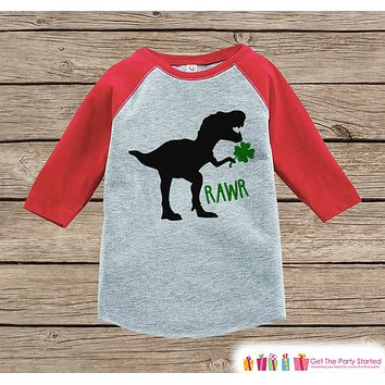 Kids St Patricks Day Outfit - Dinosaur St Paddy's Day Shirt or Onepiece - Boys Lucky Shirt - Baby, Toddler, Youth - Dino Clover Shirt