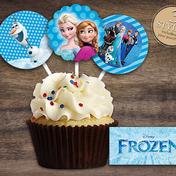 "Disney Frozen - Download 2"" Frozen Cupcake Toppers, Printable Birthday Party Gift Tags, Baby Shower Toppers, Boy Girl Stickers, Gift Tags"