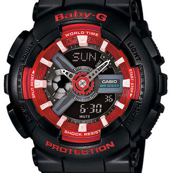 Casio Ladies Baby-G Analog-Digital - Black & Red 3D Dial