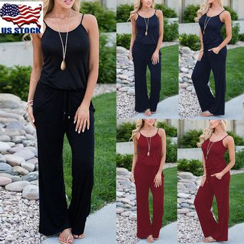 Womens Sexy Sleeveless Playsuit Ladies Loose Romper Long Floral Maxi Jumpsuit US