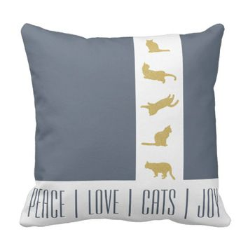 Cat Christmas Holiday Gold Blue Gray Modern Chic Throw Pillow