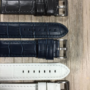 Leather Watch Band, Waterproof, Unisex, 22mm and 24mm, Contemporary Style, Hand Stitched, Comes in White, Charcoal and Navy Blue