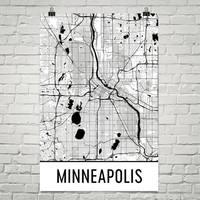 Minneapolis MN Street Map Poster