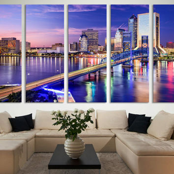 Jacksonville Canvas Print Skyline Wall Art / Modern Canvas Print Wall Art Photography Hanging for Office & Home Decoration Fine Art Canvas