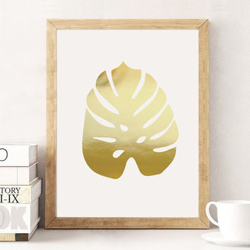 Monstera Leaf Print, Gold Monstera, Real Gold Foil Print, Botanical Print, Wall Decor, Minimal Art, Plant Illustration, Tropical Leaf Poster