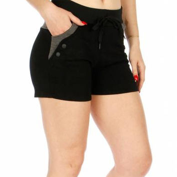 Button Accent Fleece Workout Shorts in sizes S-XL in 6 Colors