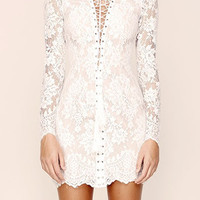 White Lace Long Sleeve Mini Bodycon Dress
