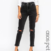 ASOS PETITE Farleigh High Waist Slim Mom Jeans In Washed Black with Busted Knees