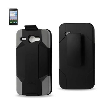 Alcatel One Touch Sonic Lte 3-In-1 Hybrid Heavy Duty Holster Combo Case (Gray Black)