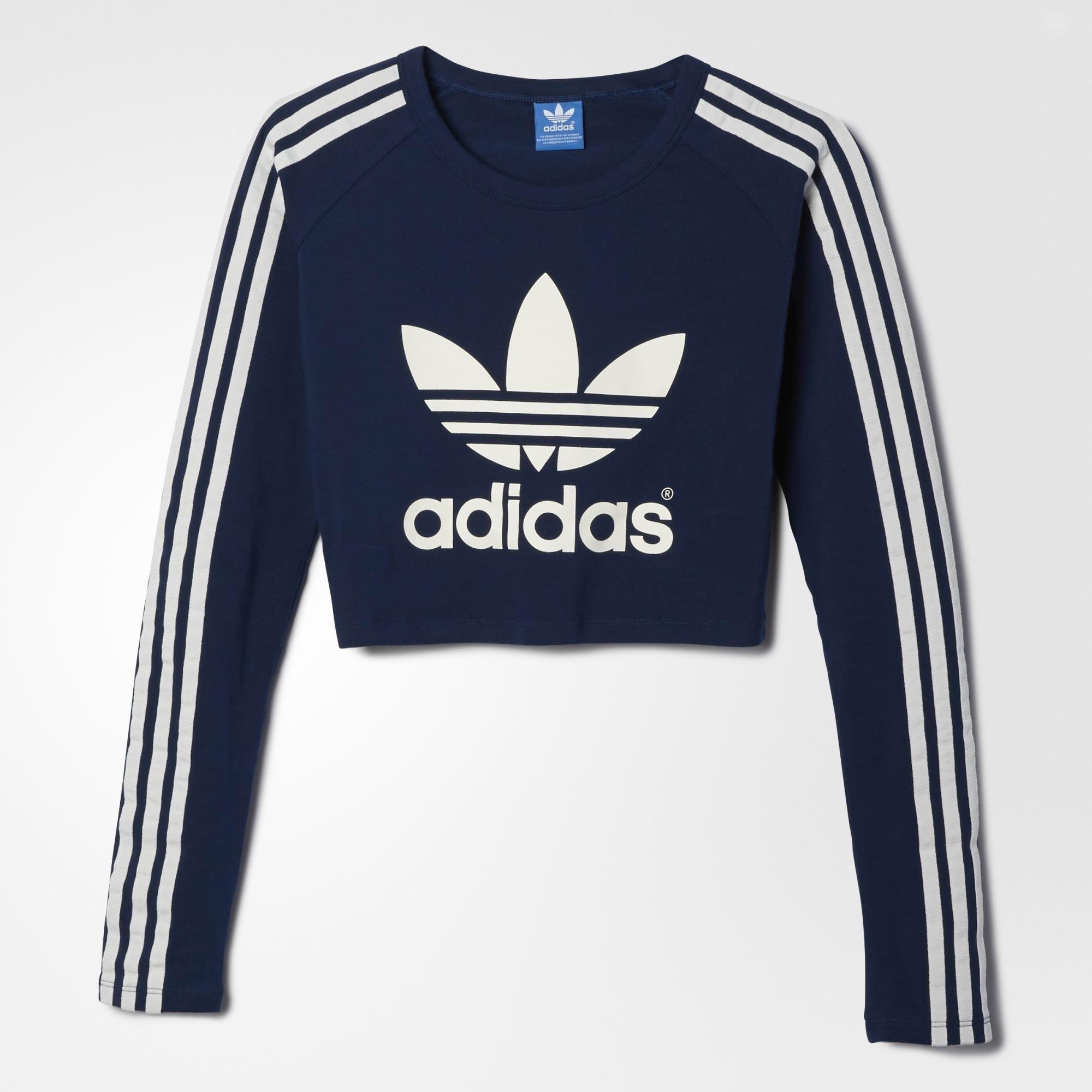 Adidas Paris Crop Tee Blue Adidas Us From Adidas