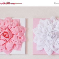 "MOTHERS DAY SALE Two Wall Hangings Light Pink Dahlia on White and White Dahlia on Light Pink  12 x12"" Canvases Wall Art- Baby Nursery Wall D"