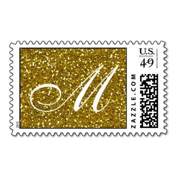 Glitter Gold Custom Monogram Stamp