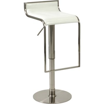 Forest Adjustable Height Bar Counter Stool White Leather & Satin Nickel