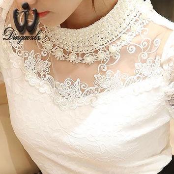 2016 Blusa 5XL Beaded lace tops Crochet Lace Blouse Patchwork Hollow out Long sleeve Chiffon Women shirt Plus size clothing