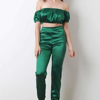 Satin Off The Shoulder Crop Top With High Waisted Pants