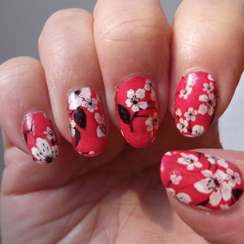 Free Shipping White Cherry Blossoms Nail Art Cbf Full Waterslide Decals
