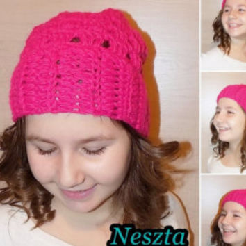 Crochet pattern, crochet slouchy hat pattern, crochet hat pattern, pink hat pattern, child, teen, adult sizes