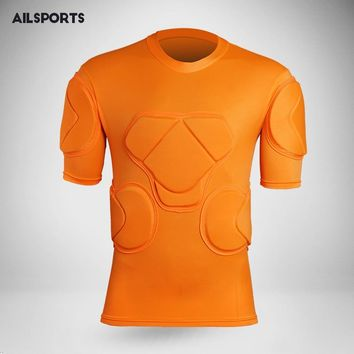 Men rugby soccer goalkeeper jerseys knee pads tops elbow football shirts pants shorts padded sports safety thicken protection