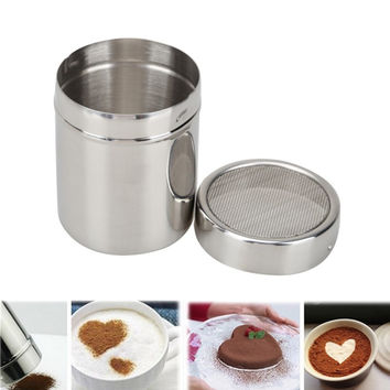 Stainless Steel Flour Salt Sifter Icing Sugar Dredger Cocoa Chocolate Powder Shaker