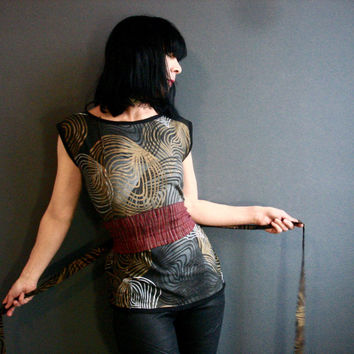 The Glorious Land - iheartfink Handmade Hand Printed Womens Earth Tones Wearable Art Print Jersey Top