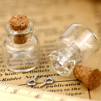 Small Clear Glass Bottles Vials Charms Pendants 16x18mm - Bottle with Cork and Silver Eyehook  - GB04(5pcs)