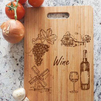 ikb335 Personalized Cutting Board Wood wine glass grapes kitchen restaurant