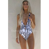 Tahiti Python Buckle Strap Plunging One Piece