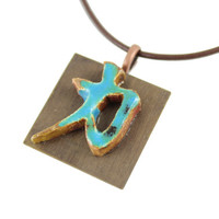 Handmade Japanese Symbol for Strength Ceramic Necklace - Zen Jewelry - Strength Jewelry