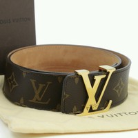 02+Louis Vuitton Men's New Belt LV INITIALS 40MM Size 105/42 Gold LV Buckle