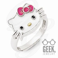 Sterling Silver Hello Kitty Enameled Pink Bow Collection Ring