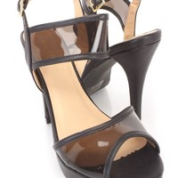 Black Peep Toe Clear Strappy Heels Faux Leather