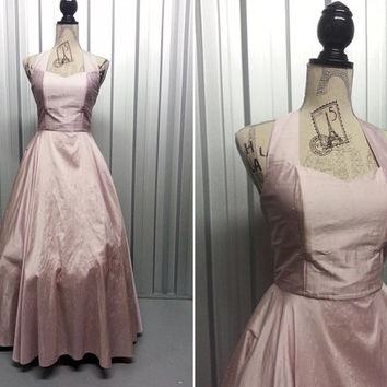 80s Pastel Pink Halter Neck Dress Metallic Dress Silk Dress Full Skirt Dress 80s Does 50s Rockabilly Dress Prom Dress Party Dress Frosted
