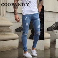 Denim Casual Ripped Hole Men Skinny Slight Stretch Pencil Jeans