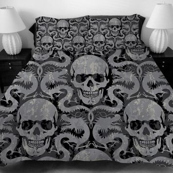 skull dragons duvet covers Europe Style 3D sugar skull Bedding Set with pillowcase