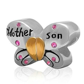 Butterfly Pink Crystal 925 Sterling Silver Mother and Son Bead Fit Pandora Charms