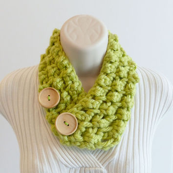 NECK WARMER SCARF. Key Lime Scarflette with wood buttons, green Scarflette, cowl scarves, Women accessories.