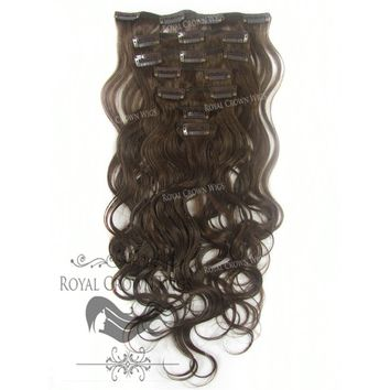 14 inch 7 Piece Body Wave Human Hair Weft Clip-In Extensions in #4