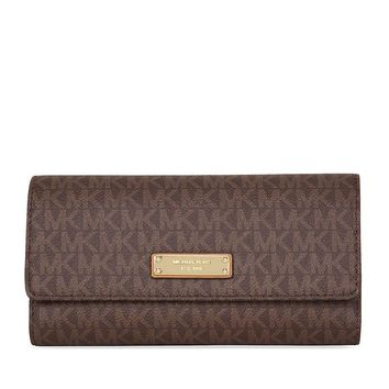 Michael Kors Jet Set PVC Checkbook Wallet - Brown