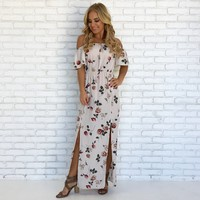 Rose Petal Maxi Dress in Ivory