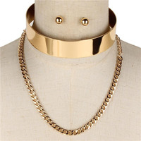 "14"" gold layered cuff choker collar necklace .50"" earrings .80"" wide"