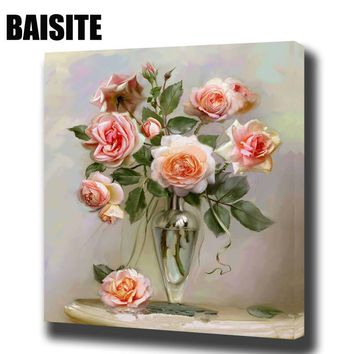 BAISITE DIY Framed Oil Painting By Numbers Flowers Pictures Canvas Painting For Living Room Wall Art Home Decor E783