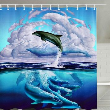 3D Dolphin Leaping Print Shower Curtain