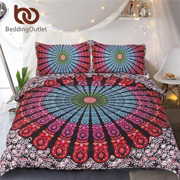 BeddingOutlet 3 Piece Medallion Motif Duvet Cover Set Hippie Floral Indian Mandala Bedding Set Bohemian Boho Chic Home Textiles