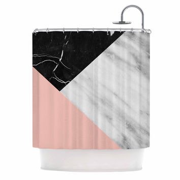 "Cafelab ""Marble Collage With Pale Pink ""  Gray Pink Shower Curtain"